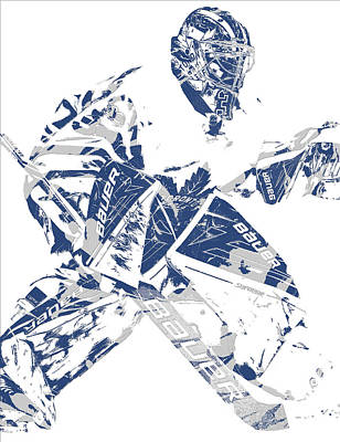 Maple Leaf Art Mixed Media - Frederik Andersen Toronto Maple Leafs Pixel Art 4 by Joe Hamilton