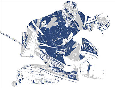 Maple Leaf Art Mixed Media - Frederik Andersen Toronto Maple Leafs Pixel Art 5 by Joe Hamilton