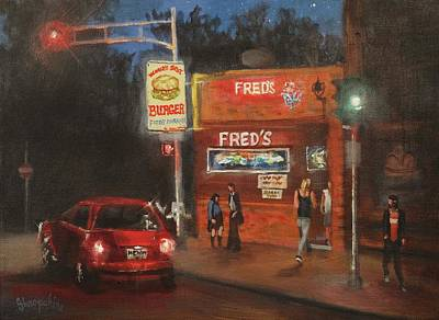 Night City Painting - Fred's by Tom Shropshire