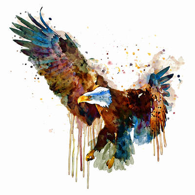 White Background Mixed Media - Free And Deadly Eagle by Marian Voicu
