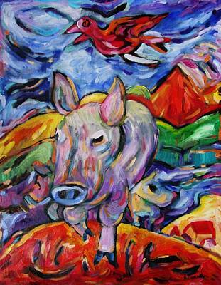 Painting - Free As A Bird Pig by Dianne Connolly