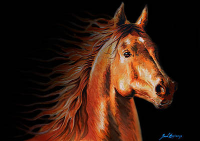 White Horse Watercolor Painting - Free As The Wind In Black by J- J- Espinoza