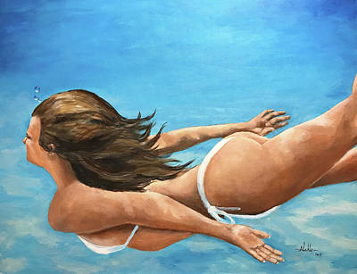 Painting - Free Dive by Alan Lakin