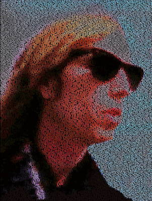 Painting - Free Fallin Lyrics Mosaic by Paul Van Scott