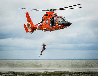 Photograph - Free Falling Rescue Swimmer by Gregory Daley  PPSA