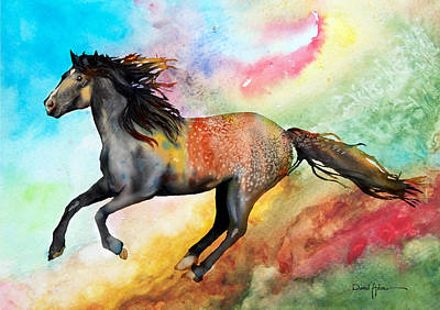 Painting - Da115 Free Gallop Colorful Daniel Adams by Daniel  Adams