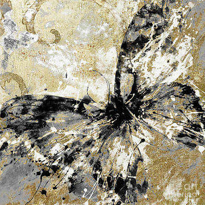 Abstract Butterflies Painting - Free Gold by Mindy Sommers