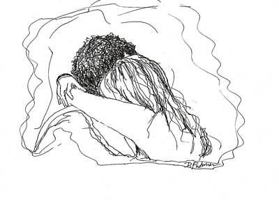 Drawing - Free Hugs Bw by Denise Fulmer