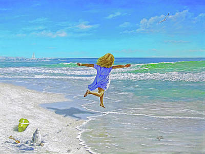 Free On Sand And Sea Original by Reb Benno