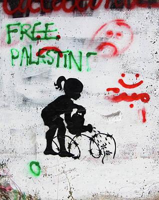 Photograph - Free Palestine In Green by Munir Alawi