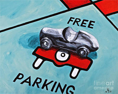 Abstract Oil Paintings Color Pattern And Texture - Free Parking by Herschel Fall