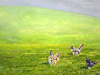 Free Range Chickens Art Print by Francis Robson