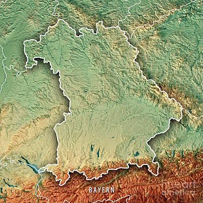 Digital Art - Free State Of Bavaria Germany 3d Render Topographic Map Border by Frank Ramspott
