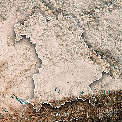 Digital Art - Free State Of Bavaria Germany 3d Render Topographic Map Neutral  by Frank Ramspott