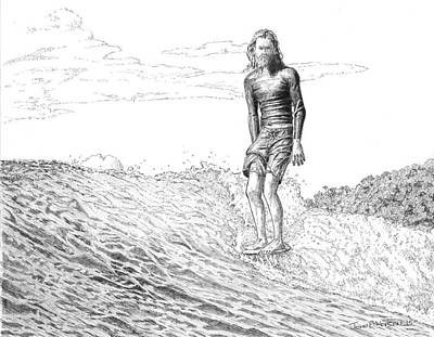 Surf Lifestyle Drawing - Free Surfer by John Hopson