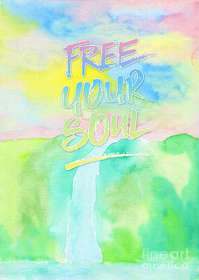 Free Your Soul Watercolor Colorful Spring Waterfall Painting Art Print by Beverly Claire Kaiya