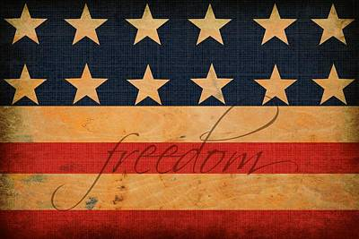 Antique Look Digital Art - Freedom Americana Flag by Chastity Hoff