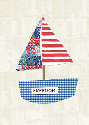 Blue Mixed Media - Freedom Boat- Art By Linda Woods by Linda Woods