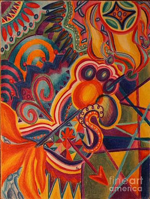 Abstract Shapes Drawing - Freedom by Kathryn Jinae
