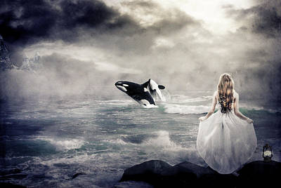 Orca Digital Art - Freedom by Linda Johnsen