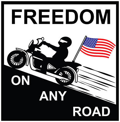 Waving Flag Drawing - Freedom On The Road by Lj America