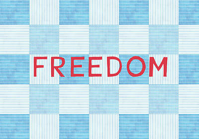Red White And Blue Digital Art - Freedom Patchwork by Linda Woods