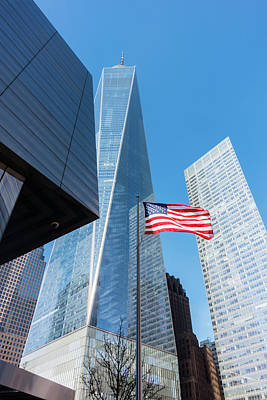Photograph - Freedom Tower And American Flag by Steven Green