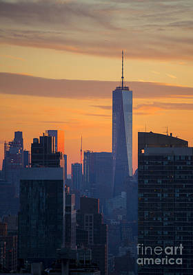 Skylines Royalty-Free and Rights-Managed Images - Freedom Tower at Sunset by Diane Diederich