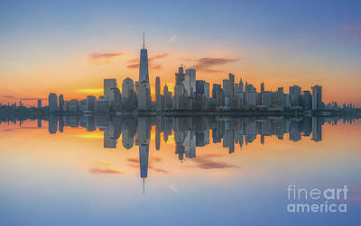 911 Memorial Photograph - Freedom Tower Sunrise Reflections by Michael Ver Sprill