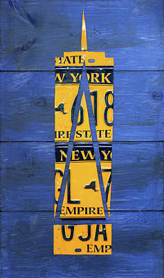 Nyc Mixed Media - Freedom Tower World Trade Center New York City Skyscraper License Plate Art by Design Turnpike