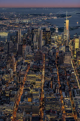 New York City Skyline Photograph - Freedom Tower Wtc Aerial View by Susan Candelario