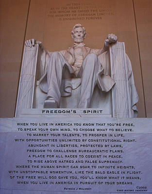 Lincoln Memorial Mixed Media - Freedom's Spirit by Patrick J Maloney