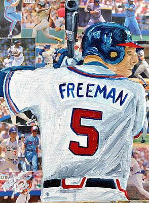 Brave Mixed Media - Freeman At Bat by Michael Lee