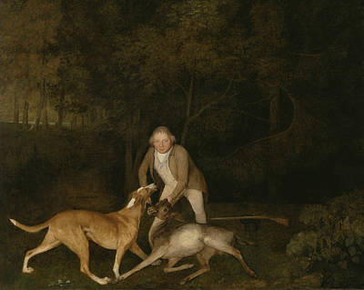 Painting - Freeman, The Earl Of Clarendon's Gamekeeper, With A Dying Doe And Hound by George Stubbs