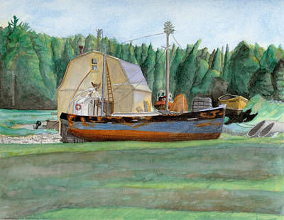 Maine Barns Painting - Freeport Fishing Boat by Dominic White