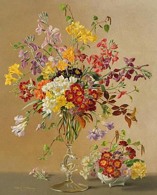 Primroses Painting - Freesias And Primroses by Albert Williams
