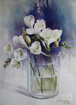 Painting - Freesias by Elena Oleniuc