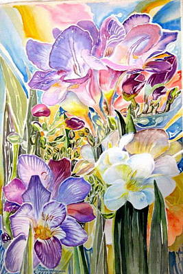 Painting - Freesias  by Therese AbouNader