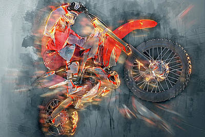 Freestyle Motocross Art Print by Sergey Yurchenko