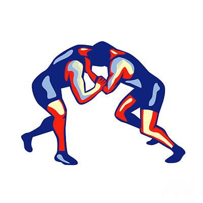 Wrestler Digital Art - Freestyle Wrestling Retro by Aloysius Patrimonio
