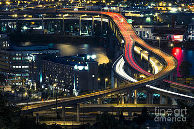 Photograph - Freeway Winds Through Portland, Oregon At Night by Bryan Mullennix