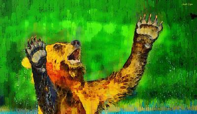 Otter Painting - Freeze - Pa by Leonardo Digenio