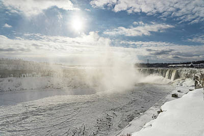 Photograph - Freezing Fury - Niagara Falls With Sun Snow And Ice by Georgia Mizuleva