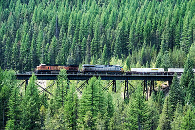 Freight Over A Trestle In Montana Print by Mick Anderson