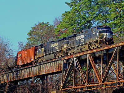 Photograph - Freight Tain On A Bridge by Joseph C Hinson Photography