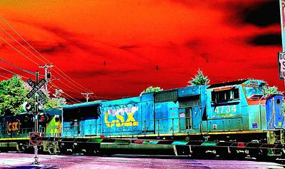 Digital Art - Freight Train by Cliff Wilson