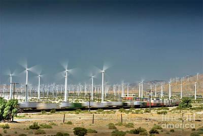 Photograph - Freight Train Moving Palm Springs Desert Wind Farm Turbines by David Zanzinger