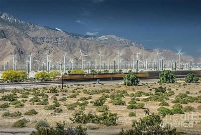 Photograph - Freight Train Palm Springs Ca Windfarm by David Zanzinger