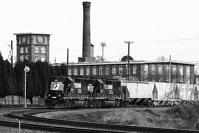 Photograph - Freight Train Passes Old Textile Mile B W by Joseph C Hinson Photography