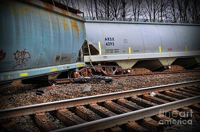 Photograph - Freight Train Wreckage  by Paul Ward